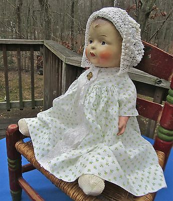 Antique Composition Doll Cloth Body German Clothes Jointed Religious Medal