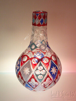 Unusual Czech Bohemian Ruby Stain Cut Clear White & Blue Enamel Bottle Vase