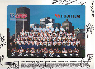 Montreal Alouettes 2002 Team Photo Hand Autographed By 7 Players !!