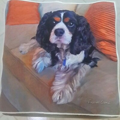 Cavalier King Charles Spaniel Dog McClintock Fabric Panel Pillow Top New