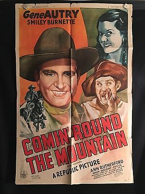 Comin' Round The Mountain 1940 One Sheet Movie Poster Gene Autry Cowboy Western