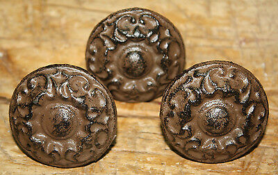 12 Cast Iron Antique Victorian Style ROUND Drawer Pull, Barn Handle Door Handles