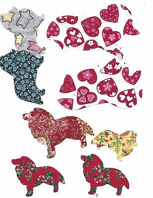Sheltie set of 8 assorted Iron on appliques