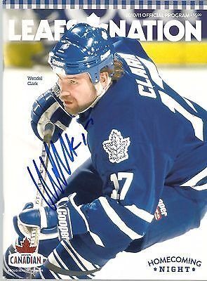 Wendel Clark Homecoming Night Leafs Autographed Signed Program December 11-2010