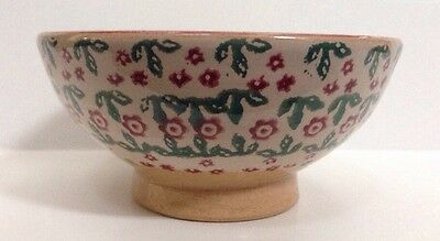 Nicholas Mosse Bowl Flowers Floral  Footed Dish Pottery Made In Ireland Vintage