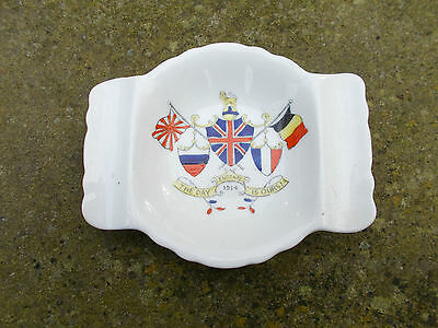 Enamel Painted Trinket Dish 1914 The Day is Ours! Crown Delphine WW1