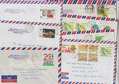 Singapore 7 Air Mail covers to Germany