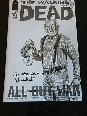 Walking Dead #115 Blank Variant Cover Signed by Scott Wilson - Mike Rooth Sketch