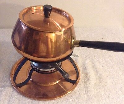 FONDUE POT SET  Copper Used Copper Plated