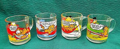Set of 4 Anchor Hocking McDonald's GARFIELD & ODIE Glass Mugs Cups - 1978