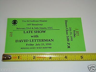 DAVID LETTERMAN LATE SHOW, CLARENCE CLEMONS 1995 UNUSED TICKET Bruce Springsteen