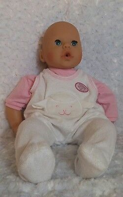 """2002 Zapf Creations 17"""" Interactive Annabell Chou Chou Baby Doll Outfit Works!"""