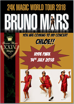 Bruno Mars 24K Magic Tour Concert 2018 Tickets Card A5 Personalised own words