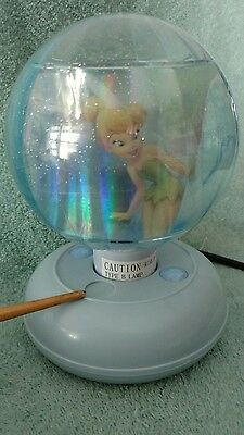 Disney Tinkerbell Fairy Revolving Ball Disco Lamp Night Light Blue Base