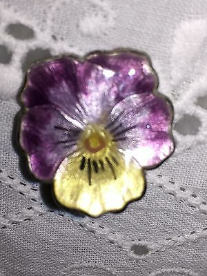Sterling Silver Lavender Yellow Pearl  Guilloche Enamel Pansy Flower Brooch Pin