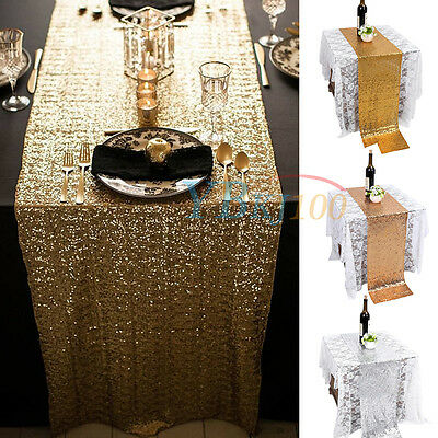 Glitter Table Runner Cloth Wedding Home Decor Sequin Gold Silver Champagne Color
