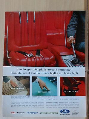 1963 magazine ad for Ford - Longer life upholstery and carpeting, better built