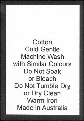 100 Care Labels on soft satin - Cotton Made in Australia