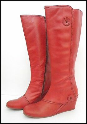 Fly Red Leather Boots Size 9 Wedge Heel Zip up Round Toe London Fashion Footwear