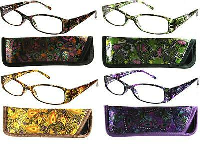 Paisley Square Vintage Style Clear Reading Glasses Various With Case 969R