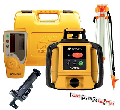NEW! Topcon RL-H4C Rechargeable Automatic Rotary Laser Level Kit +Staff & Tripod