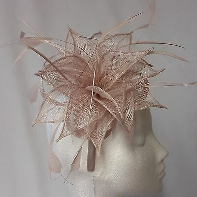 Nude Sinamay and  Feather Fascinator for Weddings, Races and Proms