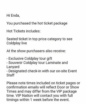 2 COLDPLAY Hot ticket Package Croke Park July 2017 Seated Cusack Stand Lower