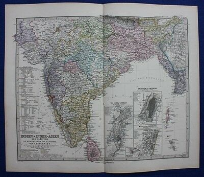 INDIA, BOMBAY, CALCUTTA, MADRAS, SRI LANKA, original antique map, Steiler 1880