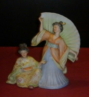 Victorian Bisque Porcelain Japanese Ladies Figure  Repaired Condition