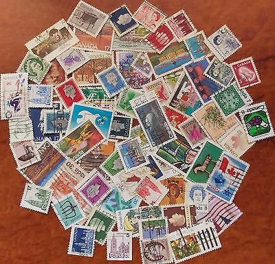 Canada. Used stamps off paper all different, bulk collection qty 70