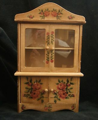 Vintage Decorated with Roses Wood Doll China Cabinet 12 inches Tall