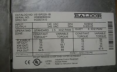 Used BALDOR Variable Frequency Drive VS1SP4220-1B, 20 HP, 3 phase, 240V