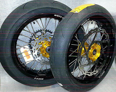 "Supermoto 17"" Wheels With Tires Drz 400 Gold Hub Black Rim Oversized Rotor"