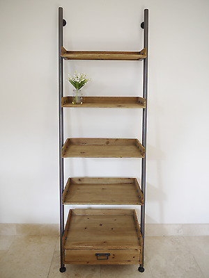 Retro Industrial Style Vintage Wood Ladder Style Bookcase,Display Cabinet