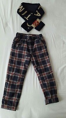 Next Timberland boys checked tartan double trousers & wool scarf age 5-6 years