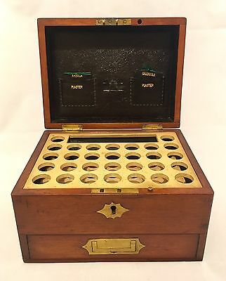 Antique Victorian Homeopathic Medicine Box Chemist Apothecary Bottle Holder