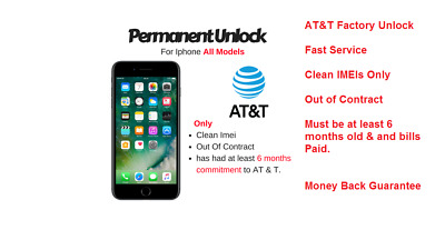 FAST FACTORY UNLOCK SERVICE AT&T CODE ATT for IPhone 3 4 5 5S 6 6s SE 7 8 8+ XR