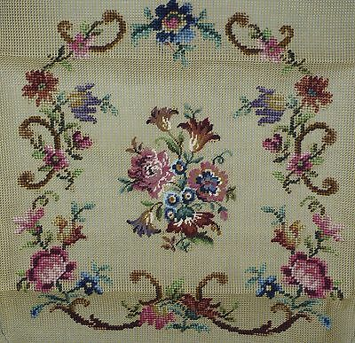FLORAL TAPESTRY NEEDLEPOINT CANVAS for ANTIQUE STYLE CHAIR SEAT / COVER