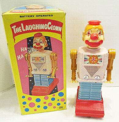 The Laughing Clown Robot Waco Japan W/ Box Still Works Vintage Chuckling Charlie