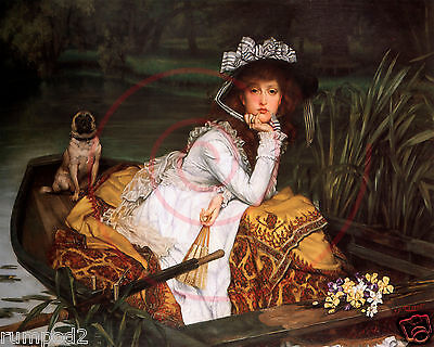 Vintage Painting Lady In the Boat/Pug English Art Print/Victorian/Reproduction
