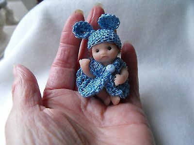 OOAK artist   miniature  Jointed  BABY DOLL  Boy 5cm  polymer  clay by HARRY