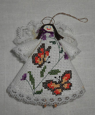 Handmade Cross Stitched Angel Ornament with Butterflies