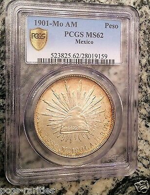 "1901 Mo AM Mexico Republic Peso Silver Coin - PCGS MS62 ""CAP AND RAYS"""