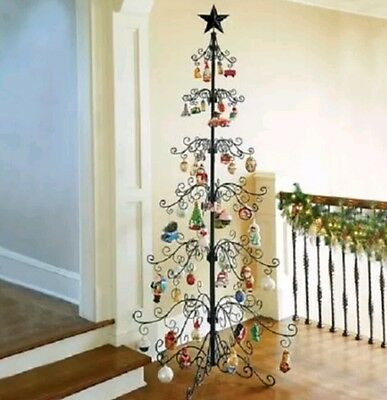 Black Metal Ornament Tree, 9ft,  EUC