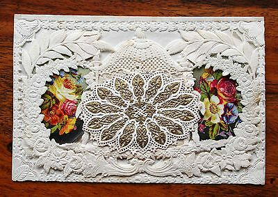 Stunning Victorian Valentine Double Paper Lace Card Angels Poem Opens Couple