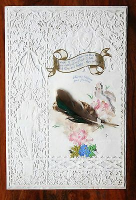 Large Victorian Valentine Lace Paper Card Dobbs Kidd Cherubs  Feathers Scraps