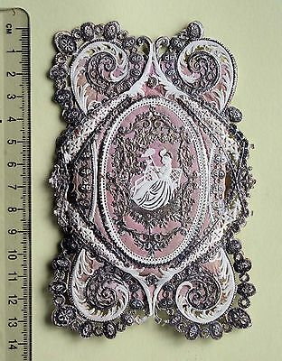 Ornate Victorian Padded Silvered Valentine Paper Lace Greetings Card Lady Paraso