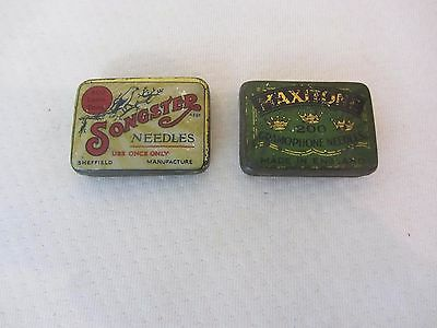 2 x VINTAGE GRAMOPHONE NEEDLE TINS WITH NEEDLES SONGSTER MAXITONE