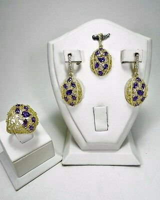 Sterling 925 Silver Handmade Jewelry Purple Amethyst Filigree Design Full Sets