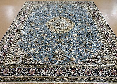 8 x 12 PERSIAN QUM Hand Knotted Wool BLUE NAVY Oriental Rug Carpet